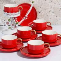 Kosova New Bone Serisi Lüx Porselen 6 Parça Çay Fincan Seti Kırmızı