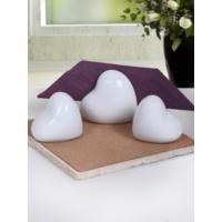 Keramika 3 Adet Kalp Beyaz Tuzluk, Biberlik, Peçetelik