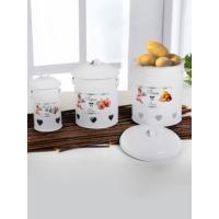 Keramika 3 Adet Metal Bakliyat Kutusu Beyaz Patates-Soğan- Sarımsak