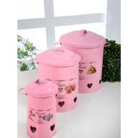 Keramika 3 Adet Metal Bakliyat Kutusu Pembe Patates-Soğan- Sarımsak