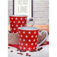 Keramika 2 Adet 9 Cm Kırmızı Yıldız Auro Kupa