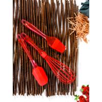 Keramika 3 Parça Silikon Çırpıcı, Fırça, Spatula Kırmızı