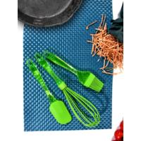 Keramika 3 Parça Silikon Çırpıcı, Fırça, Spatula Yeşil