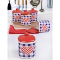 Keramika 10 Parça Köşem Baharat Takımı 8 Cm 021-975 Kırmızı Pötikare