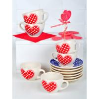 Keramika 12 Adet Kera Çay Takımı Mavi-Kırmızı Pötikare
