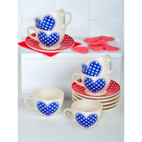 Keramika 12 Adet Kera Çay Takımı Kırmızı-Mavi Pötikare