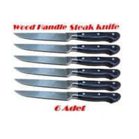 Sürbısa 61003 Ahşap Saplı Steak ( Biftek ) Bıçağı 12.5 Cm 6 Adet