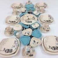 Keramika Retro Turkuaz 47 Parça 6 Kişilik Kahvaltı Takımı
