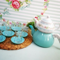 Acar Çiçekli Emaye Çaydanlık- Altı Emaye , Üst Demlik Porselen