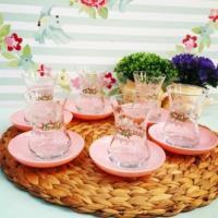 Acar 6 Kişilik Çiçekli Çay Seti