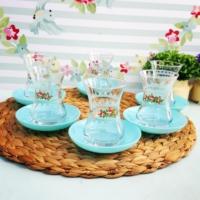 Acar 6 Kişilik Çiçekli Çay Seti Mint