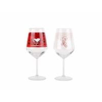 Tantitoni Kırmızı Desenli 2li Şarap Kadehi