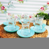 Acar 6 Kişilik Çiçek Desenli Çay Seti Mint