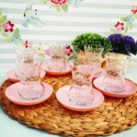 Acar 6 Kişilik Çiçek Desenli Çay Seti Pembe