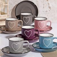 Lüx Porselen 6 Renk Kalp Dekorlu Çay Fincan Seti