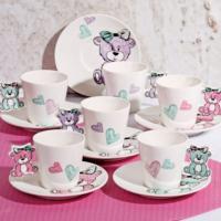 Lüx Porselen Ayı Figürlü 6 Kişilik Kahve Fincan Seti