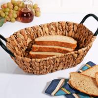 Lüx Metal Tutacaklı Hasır Ekmek Sepeti