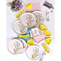 Keramika 19 Parça 6 Kişilik Kahvaltı Takımı İlkbahar Tomurcuk