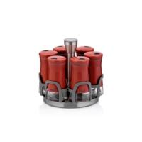 Neva N2403 Sweet Kırmızı Maxi 6'lı Dönen Metal Cam Baharatlık Seti