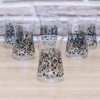 Joy Glass 6 Lı Heybeli Siyah Şal Desen Bardak