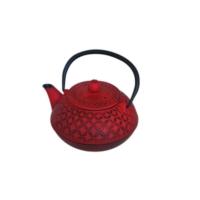 İkram Dünyası Bambum Linden - Yonca 800 Ml Kırmızı Döküm Çaydanlık