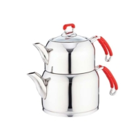 Falez Jolly Orta Boy Kırmızı Çaydanlık Seti