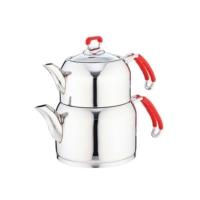 Falez Jolly Aile Boyu Kırmızı Çaydanlık Seti