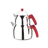 Falez Tiryaki 4 Parça Aile Boy Çaydanlık Seti Kırmızı