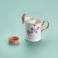 Schafer Rosa Kupa ve Bitki Çayı Demleme Bardağı 3 Parça Gül Desen XXX01