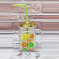 Joy Glass Limon Baskılı Kupa Kavanoz