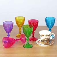 Joy Glass 6 Lı Dıamond Renkli Kahve Yanı Su Bardağı