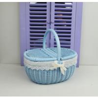 Cosıness Kulplu Oval Hasır Piknik Sepeti - Bebe Mavisi