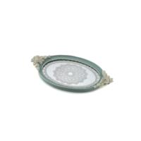 Mavi Renk Beyaz Güllü Oval Tepsi 42*23 cm