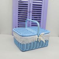 Cosıness Kulplu Dikdörtgen Hasır Küçük Boy Piknik Sepeti - Bebe Mavisi
