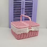 Cosıness Kulplu Dikdörtgen Hasır Küçük Boy Piknik Sepeti - Pembe