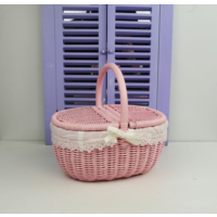 Cosıness Kulplu Oval Hasır Piknik Sepeti - Pembe