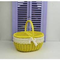Cosıness Kulplu Oval Hasır Piknik Sepeti - Sarı