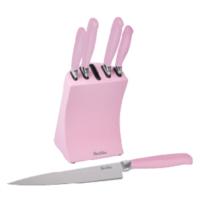 Tantitoni 6 Parça Açık Pembe Çelik Bloklu Metal Bıçak Seti