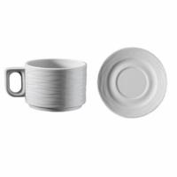 İkram Dünyası Kütahya Porselen Sea Wawe Serisi Çay Fincan Ve Tabağı 6'Lı