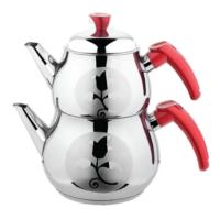 Çelik Çaydanlık Satenli Kırmızı Kulp Aile Boyu Toplam 4,30 Lt