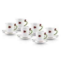 Kırmızı Güllü Çay Fincanı Takımı