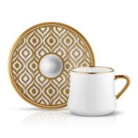 Sufı Çay Fincan Seti 6lı Ikat Altın
