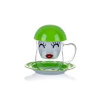 Yeşil Çiçek Desenli Süzgeçli Kupa