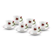 Kırmızı Güllü Tük Kahvesi Fincanı Takımı