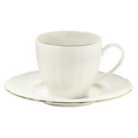 Kütahya Porselen Bone Porselen İlay Krem Altın File Kahve Fincanı Takımı