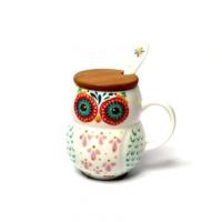 Akan Bambu Kapaklı Porselen Kaşıklı Baykuş Kupa