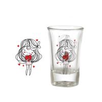 Vidrex Kalp Desenli 6'lı Funda Cam Kahve Yanı Bardağı
