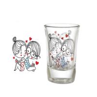 Vidrex Sonsuz Aşk Desenli 6'lı Funda Cam Kahve Yanı Bardağı