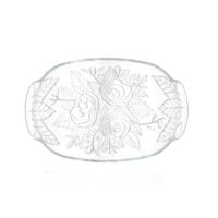 CuteChef Kitchen Çiçek Desenli Oval Cam Salata Tabağı