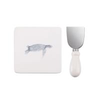 Evdebir Home Kaplumağa Figürlü Peynir Tabağı Ve Bıçak Set